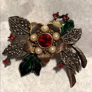 Vintage Avon flower crystals enamel brooch Amazing